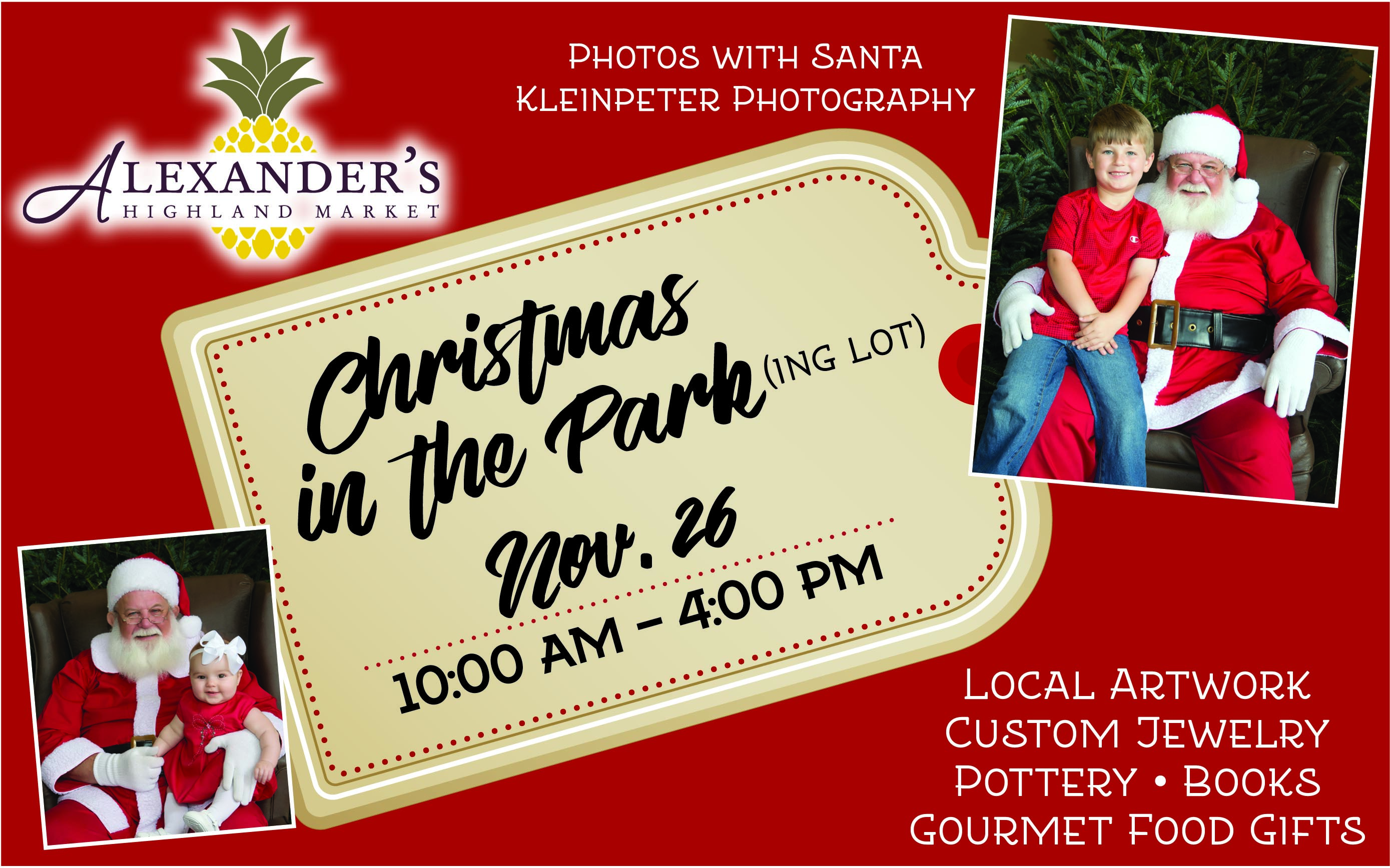 Christmas in the Park: Santa pics, unique, local gifts Nov. 26 - Alexander's Highland Market